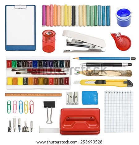 The set of a stationery, subjects for office and creativity isolated on the white - stock photo