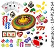 The set of  casino elements or icons including roulette wheel, playing cards, chips, dice  and more - stock vector