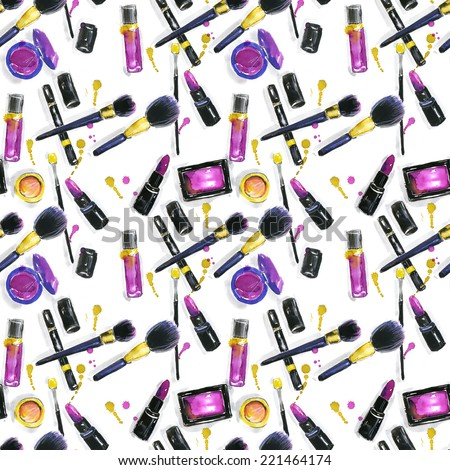 The set of cosmetics. Pattern. Background - stock photo