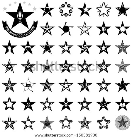The set of isolated icons, original stars - stock photo
