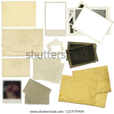 the set of old photos over the white background - stock photo