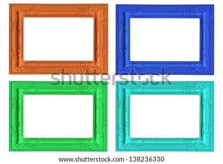 the set of picture frames isolated on white background - stock photo