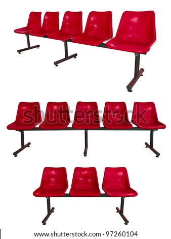 the set of red plastic chairs at the bus stop isolated on white - stock photo