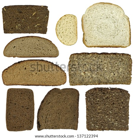the set of sliced bread isolated on white background - stock photo