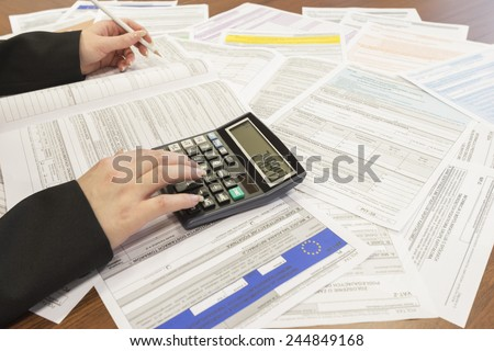 The settlement of annual tax, Polish Tax Forms - stock photo