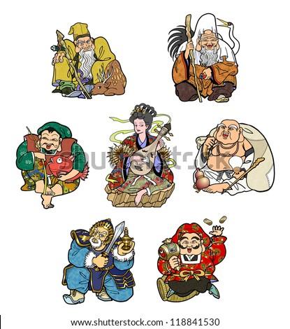 The Seven Deities of Good Luck - stock photo