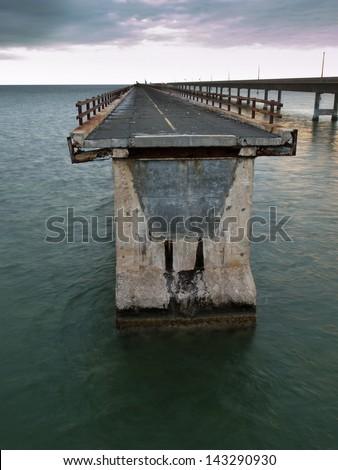 The Seven Mile Bridge is a famous bridge in the Florida Keys. - stock photo