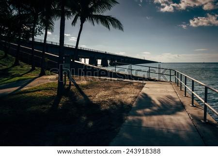 The Seven Mile Bridge, on Overseas Highway in Marathon, Florida. - stock photo