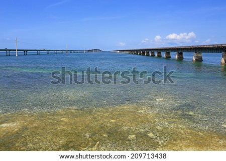 The Seven-Mile Bridge, which parallels the old Overseas Railroad, is part of the 127-mile-long Florida Overseas Highway. - stock photo