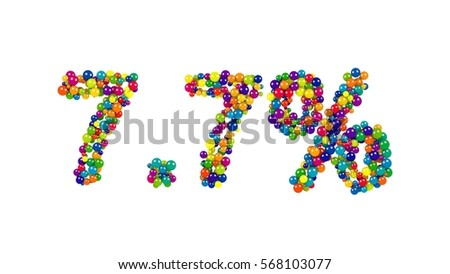 The seven point seven percent funny digits made of glossy colorful marbles isolated over white background