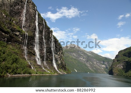 The seven sisters waterfall, Geiranger Fjord, Hellesylt Norway