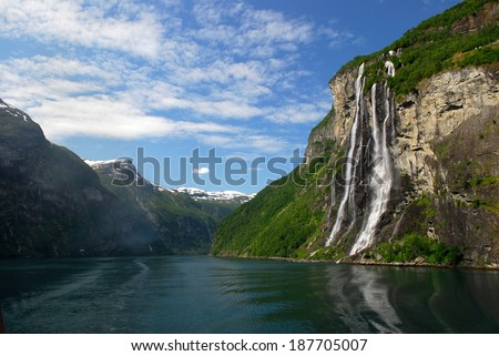 The Seven Sisters Waterfall in Geiranger Fjord, Norway