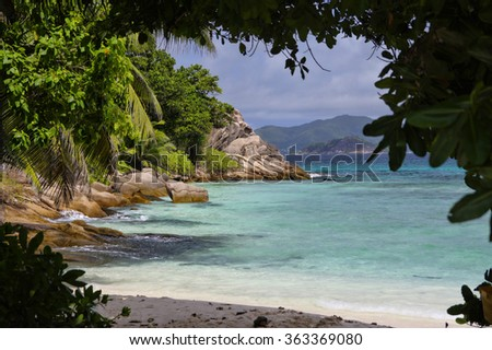 The Severe beach at La Digue island, Seychelles  - stock photo