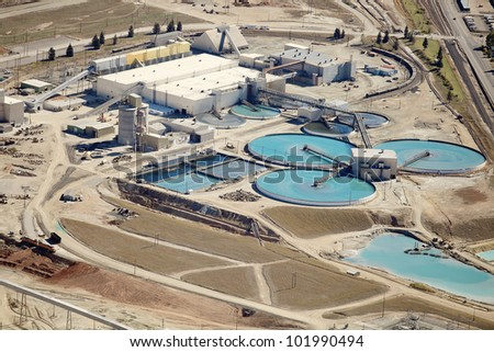 The sewage treatment facility at a copper mine and processing facility - stock photo