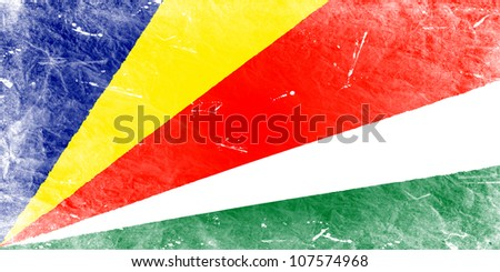 The Seychelles flag painted in vintage style