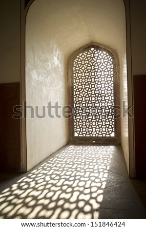 The shadow of Pattern window at Humayun Tomb, Delhi, India  - stock photo