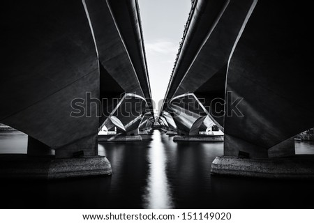 The Shadow of Under the Esplanade bridge, Merlion park Singapore - stock photo