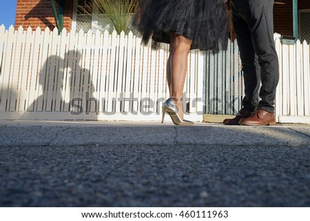 The shadows of a young lovely couple kissing at outdoor