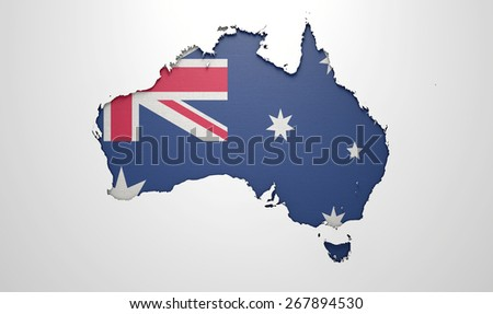 The shape of the country of South Africa in the colors of its national flag recessed into an isolated white surface - stock photo