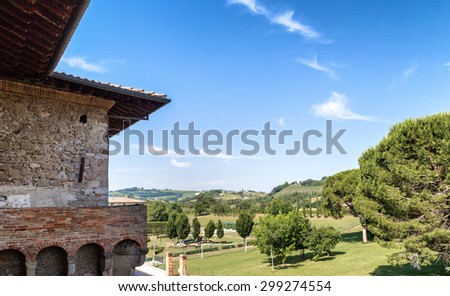 the sharp edges of the walls of the brick walls of The Castle of the Captain of Artillery, a 16th century stronghold in Terra del Sole, a small village in Emilia Romagna in Italy