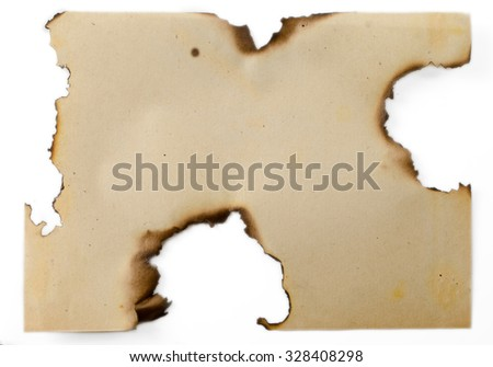 the sheet of old burned paper on the isolated white background