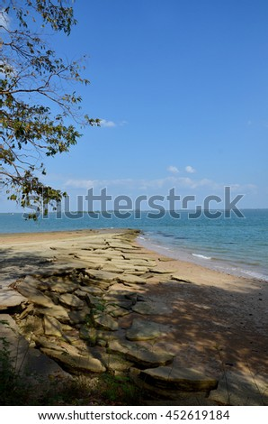 The shell graveyard Krabi , Fossil Shell Beach Krabi , Thailand - stock photo