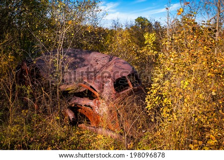 The shell of a rusted out old antique American model car lies abandoned and decaying in the heavy overgrowth of a tangle of dense weeds. - stock photo