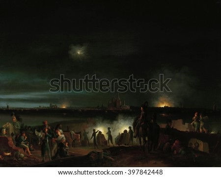 The Shelling of 's-Hertogenbosch by the French, by Josephus Augustus Knip, Dutch painting, oil on canvas. Night battle scene during the French invasion of the Dutch Republic in Sept. 1794 - stock photo
