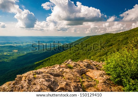 The Shenandoah Valley and Blue Ridge from Crescent Rock in Shenandoah National Park, VA. - stock photo