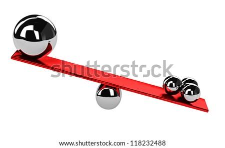 The shiny metal balls on the balance - stock photo