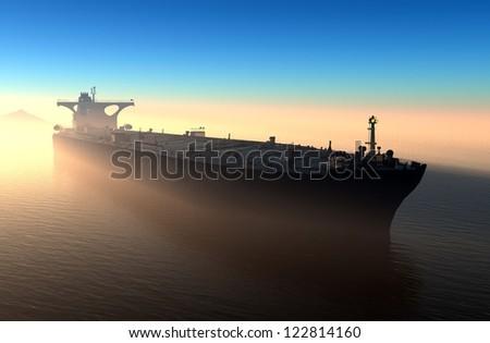 The  ship in the sea - stock photo