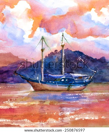 The Ship in the Sea, watercolor