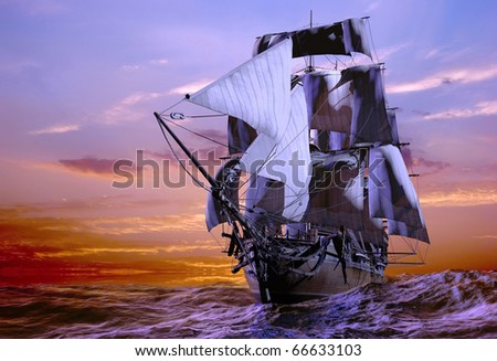 The ship sails at sea - stock photo
