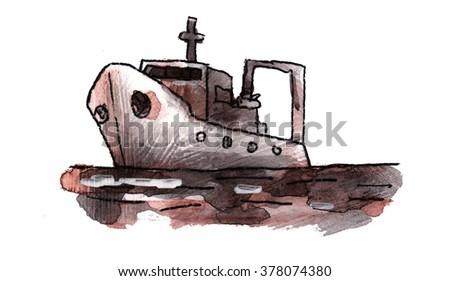 the ship sails on the sea - stock photo