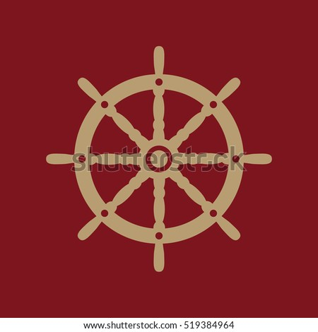 The ship steering wheel icon. Sailing symbol. Flat  illustration