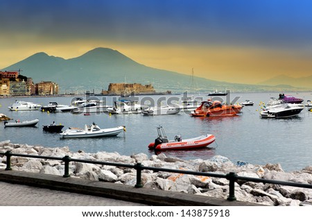 The ships in a bay of Naples, Italy, in the foggy morning