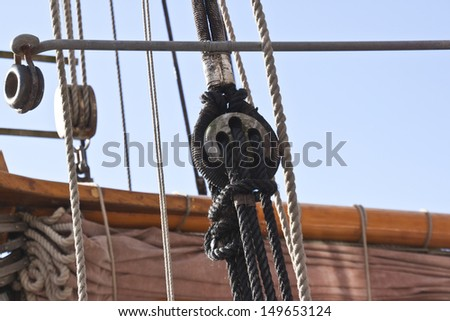 the ships winches and rigging - stock photo