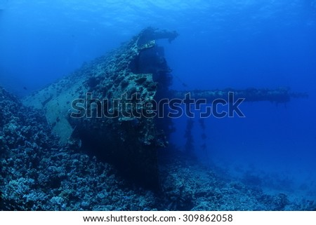 The shipwreck of the Ghiannis D in the Red Sea, Egypt. - stock photo