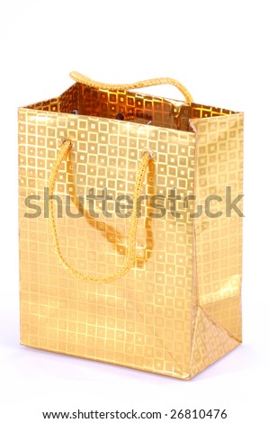 the shopping bag of yellow with patterns - stock photo