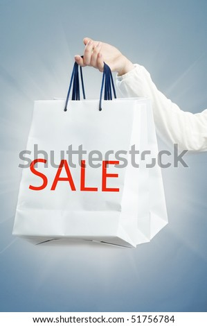 The shopping bag on the blue background - stock photo