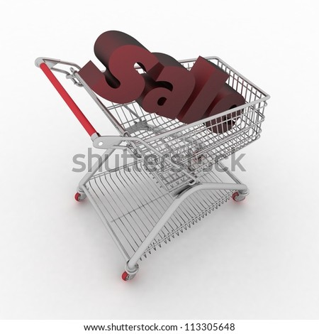the shopping cart with sale inwardly - stock photo