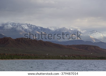 The shore of Lake Issyk-Kul, Kyrgyzstan.