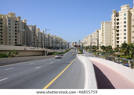 The Shoreline Apartments Buildings at Palm Jumeirah, Dubai United Arab Emirates - stock photo
