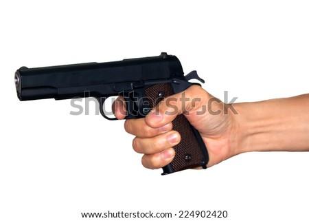 the shot gun in hand - stock photo