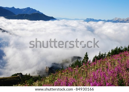 The Shrine of Our Lady of La Salette in French Alps - stock photo