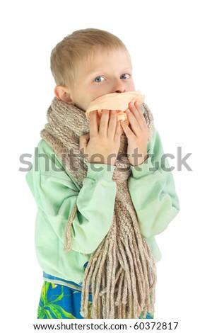The sick boy - stock photo