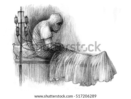 The Sick Person In A Hospital Bed Coma Graphic Illustration Of Pencil On Paper