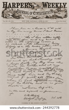 The Sickles-Key murder case was a national sensation. Harper's Weekly printed a copy of Mrs. Sickles' written confession to her husband which described her numerous rendezvous with Philip Barton Key. - stock photo