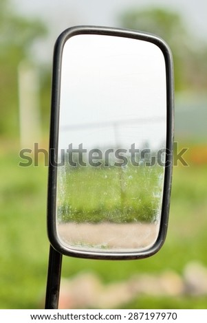 the side mirror of the truck - stock photo
