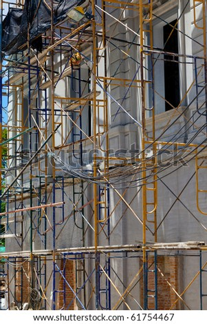The side of the building under construction - stock photo